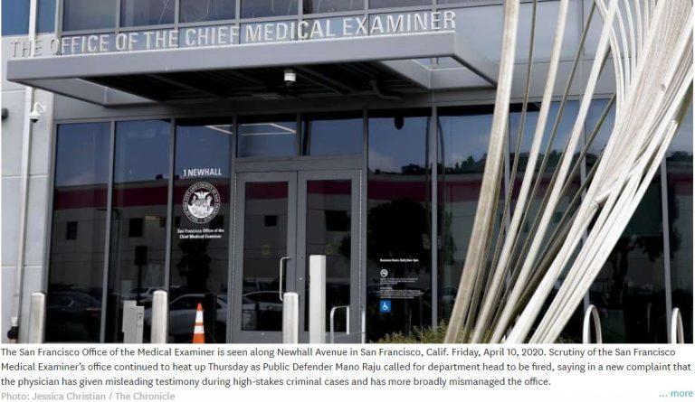 SF Public Defender Calls for Firing of Chief Medical Examiner