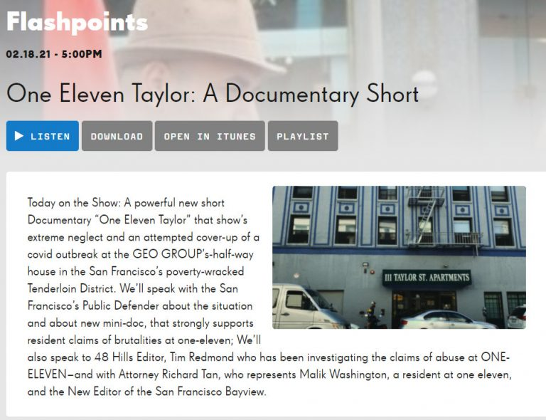 "Mano Raju on KPFA Flashpoints – Adachi Project Documentary ""One Eleven Taylor"""